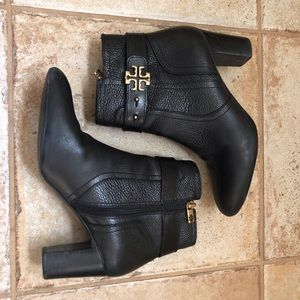 Tory Burch Elina Black Leather Booties